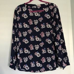 Pleione Navy & Floral Long Sleeve Blouse Size S